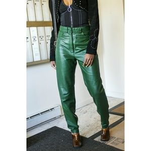 Vintage Leather Emerald Green Pants Size 4-6